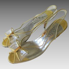 Gold Metallic Lucite Heels Shoes Vintage 1970s Rhinestone Bows Peep Toe