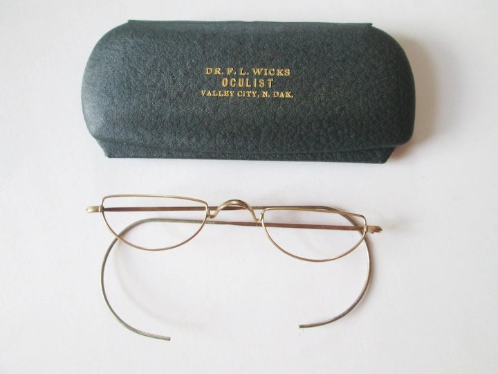 Antique Wire Rim Half Moon Reading Glasses Frames In Case SOLD ...
