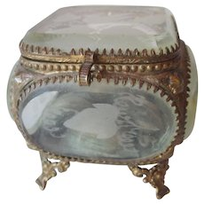 Antique French Ormolu Jewelry Casket Beveled Glass Etched Birds Leaves