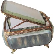 Rare Antique French Ormolu Jewelry Casket Tilt Top Mirrored Lid Beveled Glass Late 1800s