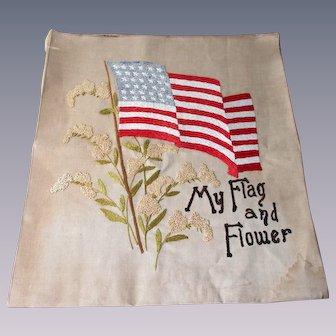 Antique Embroidery Patriotic Folk Art American My Flag And Flower Civil War Era 34 Stars