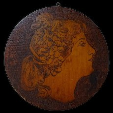 Victorian Antique Pyrography Picture Flue Cover Gibson Girl Folk Art 1900s Burnt Wood