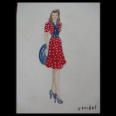 Vintage 1940s Fashion Plate Hand Painted Pencil Drawing Artist Signed