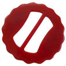 Bakelite Slide Buckle Vintage 1940s Cherry Red Scalloped Edges Large - Red Tag Sale Item