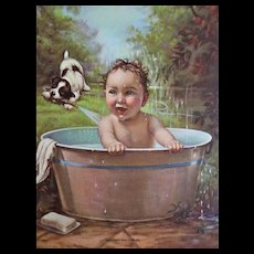 Boy Bathtub Puppy Calendar Print Vintage 1930s Showers and Cooler Signed Picture