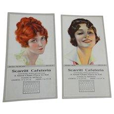 Vintage 1920s Flapper Girls Advertising Blotter Calendar Paper Ephemera Unused Scarritt Cafeteria Kansas City - Red Tag Sale Item
