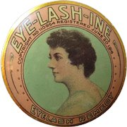 Antique Advertising Vanity Tin 1910s Eye Lash Ine Eyelash Remedy Beautiful Woman Metalware