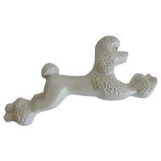 Kitsch Poodle Chalkware Wall Hanging Vintage 1950s White French Dog