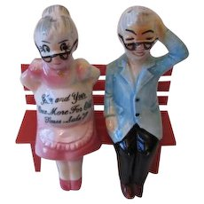 Kitsch Salt Pepper Shakers Vintage 1950s Grandma Grandpa Bench Humorous Japan Set - Red Tag Sale Item