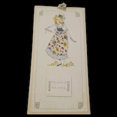Art Deco Full Year Calendar Vintage 1920s 1921 Kate Greenaway Real Fabric - Red Tag Sale Item