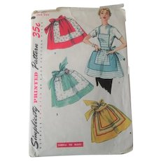 Vintage 1950s Apron Sewing Pattern Simplicity 4857