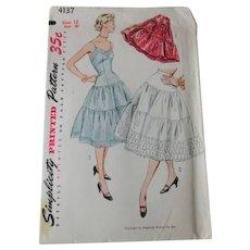 Petticoat Half Slip Sewing Pattern Vintage 1950s Swing Style Full Circle Simplicity 4137