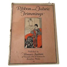 Vintage 1920s Ribbon And Fabric Trimmings Sewing Pattern Book Womans Institute Flapper Art Deco