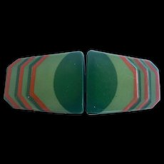 Art Deco Celluloid Buckle Vintage 1930s Sash Cape Belt Green Red German - Red Tag Sale Item