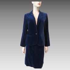 Blue Velvet Suit Skirt Jacket Vintage 1970s Cos Cob Cotton