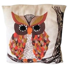 Owl Crewel Throw Pillow Vintage 1970s Linen Fall Colors Halloween Home Decor - Red Tag Sale Item