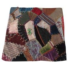 Crazy Quilt Block Pillow Top Antique 1800s Victorian Velvet Silk Doll Quilt