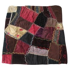 Antique Victorian Crazy Quilt Block 1800s Velvet Silk Doll Quilt Pillow Top