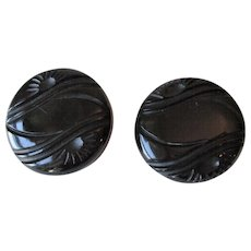 Pair Large Art Deco Bakelite Coat Buttons Vintage 1940s Black Deeply Carved Sunrise Set