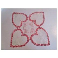 Valentine Hearts Handkerchief Vintage 1950s Hankie Hankie