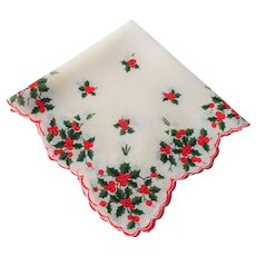 Christmas Handkerchief Vintage 1940s Holly Berries Bows Hanky Hankie