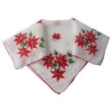 Christmas Poinsettia Handkerchief Vintage 1950s Holiday Hanky Hankie