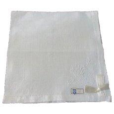 Deadstock Belgian Linen Handkerchief Vintage 1950s Large Wedding Hanky Hankie