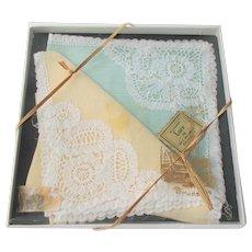 Brussels Lace Handkerchief Set Vintage 1950s Deadstock Gift Box Hankies