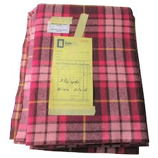 Wine Wool Plaid Fabric Vintage 1970s 1974 3 Yards x 56 Inches