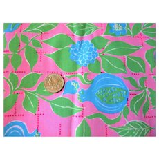 Key West Zuzek Fabric Peace On You Vintage 1970s Cotton Hand Printed
