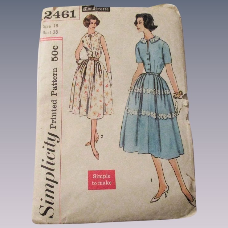 Vintage 1950s Swing Dress Sewing Pattern Simplicity 2461 Large Size