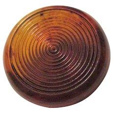 Large Amber Bakelite Coat Button Vintage 1940s Carved Translucent