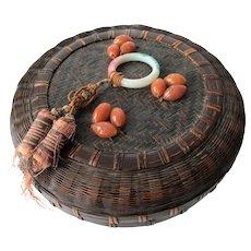 Vintage 1920s Sewing Basket Chinese Peking Glass Ring Beads Silk Tassels Lidded