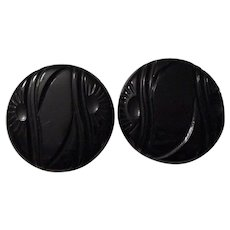 Large Black Bakelite Coat Buttons Vintage 1940s Carved Rising Sun Sewing