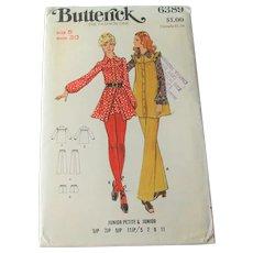 Boho Mini Peasant Dress Shorts Pants Vintage 1970s Butterick Sewing Pattern 6389