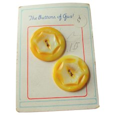 Yellow Mother Of Pearl Buttons Vintage 1930s Deadstock Card Stars