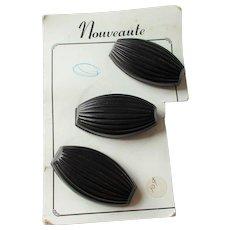 Large Black Coat Buttons Vintage 1960s Mod Deadstock Card