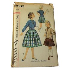 Vintage 1950s Girls Blouse Skirt Sewing Pattern Simplicity 2205 Size 10