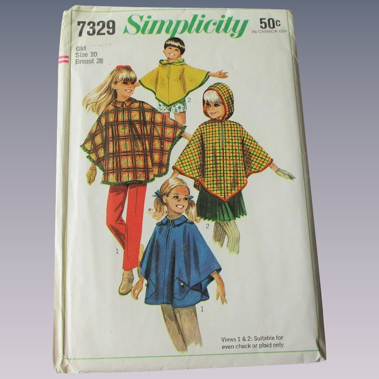 Girls Childrens Cape Poncho Simplicity Sewing Pattern 7329 Vintage