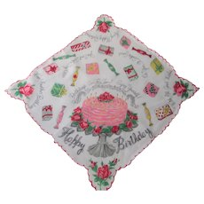Happy Birthday Handkerchief Vintage 1950s Novelty Print Hanky Hankie