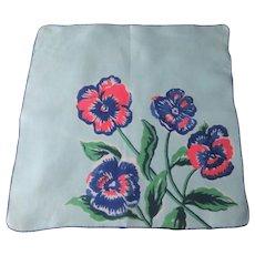 Pansy Handkerchief Vintage 1940s Blue Floral Bouquet Hanky Hankie