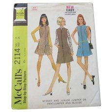Jumper Romper Blouse Sewing Pattern Vintage 1960s Go Go Hot Pants