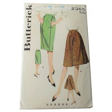 Wiggle Flared Skirt Sewing Pattern Vintage 1950s Butterick 2365