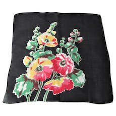Black Floral Handkerchief Vintage 1950s Bouquet Hanky Hankie