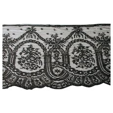 Antique Black Net Lace Edging Trim Machined Chantilly 12 Inches Wide