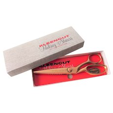 Vintage 1960s Gold Pinking Shears Sewing Scissors Original Box Kleencut