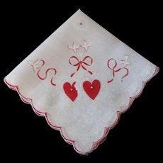 Rhinestone Studded Valentine Handkerchief Vintage 1950s Doves Heart Hankie Hanky