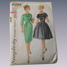 Wiggle Swing Dress Sewing Pattern Vintage 1950s Simplicity 3592