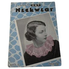 Neckwear Sewing Pattern Book Vintage 1930s Crochet Lace Accessories