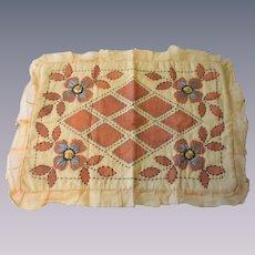 Embroidered Floral Boudoir Pillowcase Pillow Top Vintage 1930s